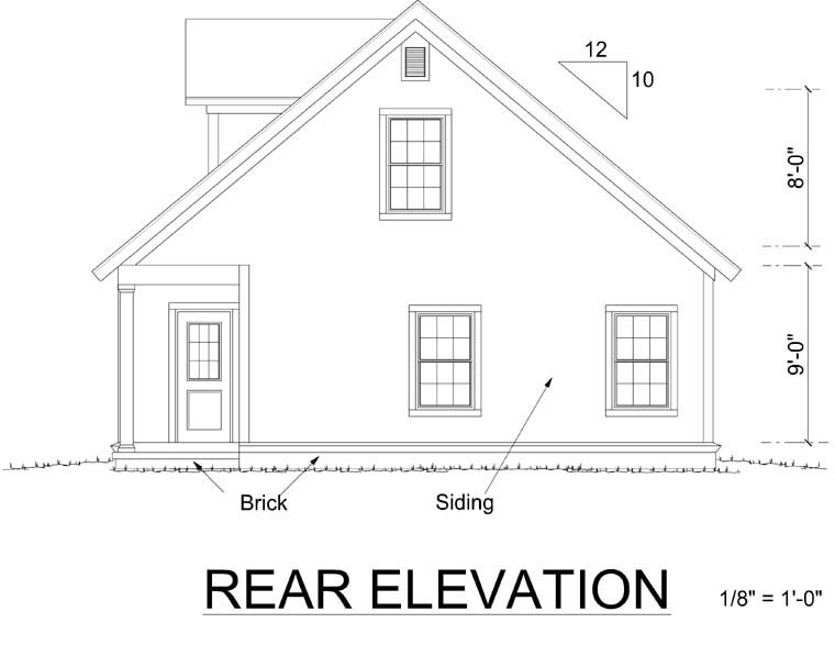 Bungalow Country Craftsman House Plan 66470 Rear Elevation