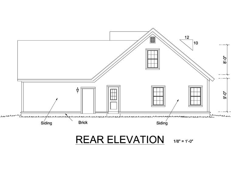 Cottage Craftsman House Plan 66471 Rear Elevation