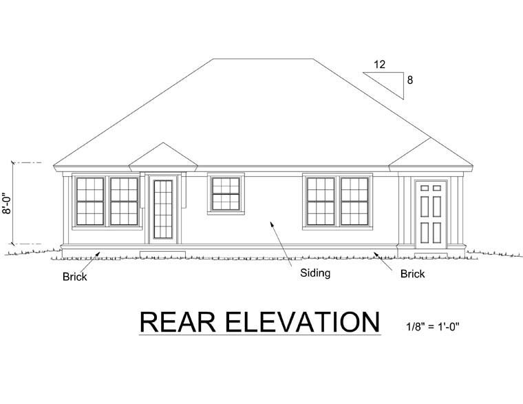 Traditional House Plan 66472 Rear Elevation