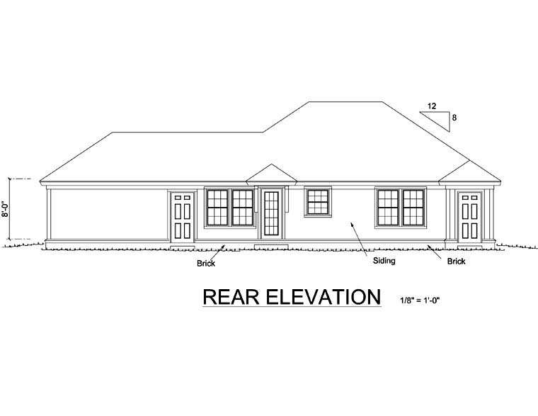 Traditional House Plan 66473 Rear Elevation