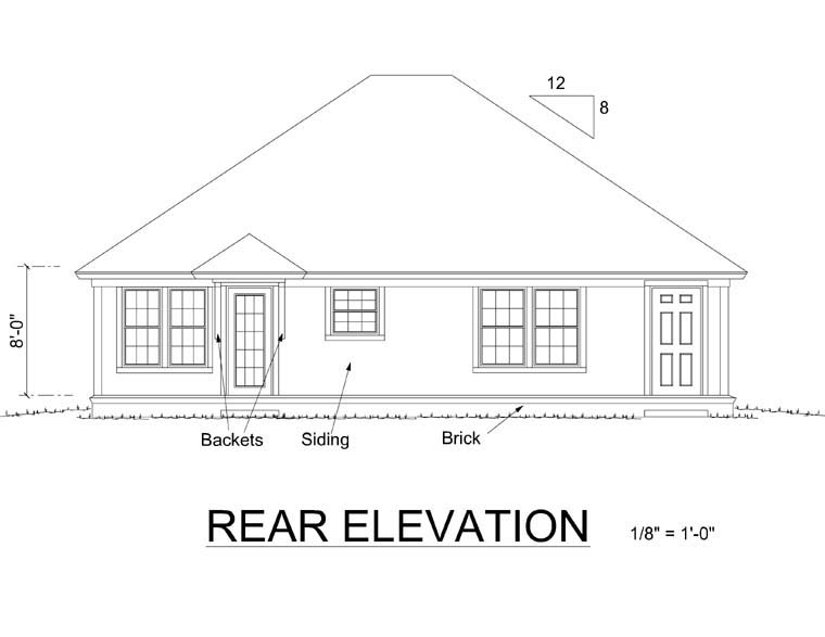 Traditional House Plan 66474 with 3 Beds, 2 Baths Rear Elevation