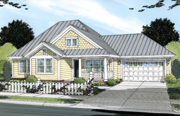 Traditional House Plan 66475 with 3 Beds, 2 Baths, 2 Car Garage Elevation