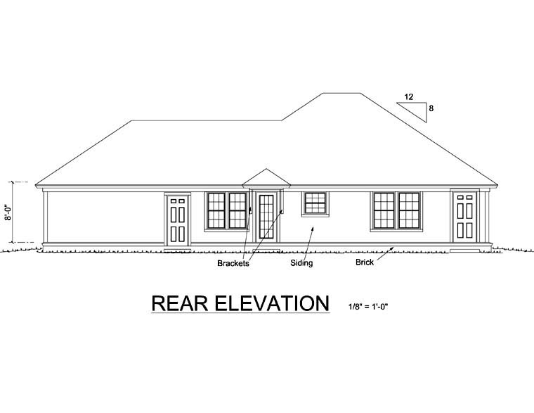 Traditional House Plan 66475 with 3 Beds, 2 Baths, 2 Car Garage Rear Elevation