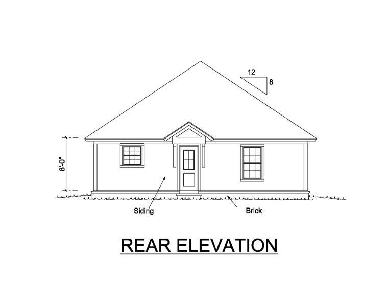 Traditional House Plan 66476 Rear Elevation
