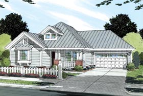 Traditional House Plan 66477 with 3 Beds, 2 Baths, 2 Car Garage Elevation