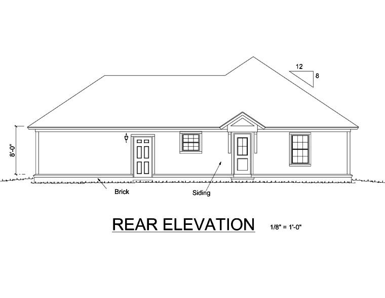 Traditional House Plan 66477 Rear Elevation