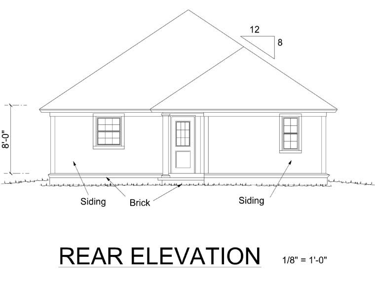 Cottage, Craftsman, Traditional House Plan 66478 with 3 Beds, 2 Baths Rear Elevation