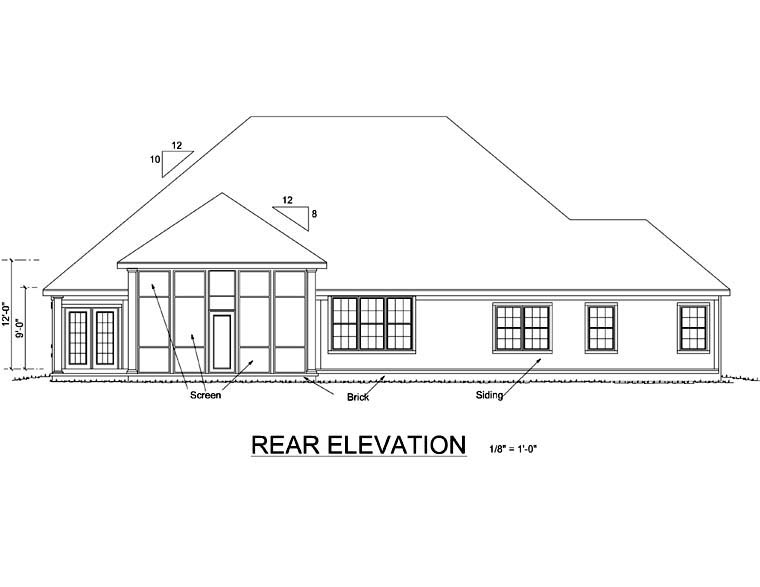 Traditional House Plan 66480 Rear Elevation