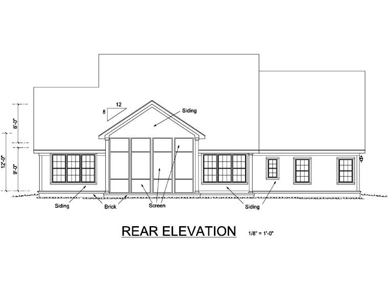 Farmhouse Southern Traditional House Plan 66481 Rear Elevation