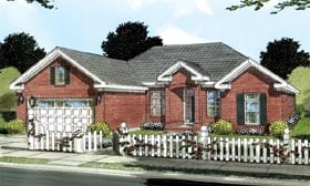 Traditional House Plan 66482 with 3 Beds, 2 Baths, 2 Car Garage Elevation