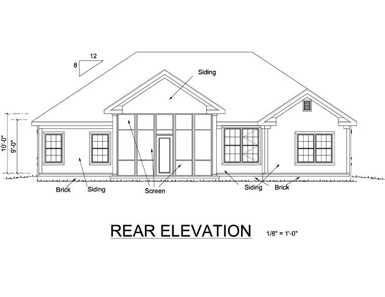 Traditional House Plan 66482 Rear Elevation