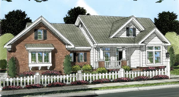 Traditional House Plan 66483 with 4 Beds, 2 Baths, 3 Car Garage Front Elevation