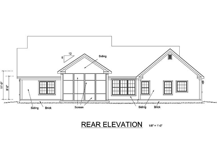 Traditional House Plan 66483 Rear Elevation