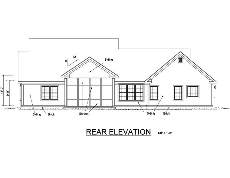 Traditional House Plan 66483 with 4 Beds, 2 Baths, 3 Car Garage Rear Elevation