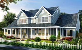 House Plan 66485 | Farmhouse Style House Plan with 2481 Sq Ft, 4 Bed, 3 Bath, 3 Car Garage Elevation