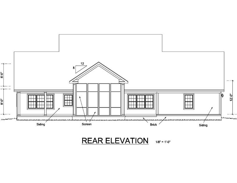 Farmhouse , Rear Elevation of Plan 66485
