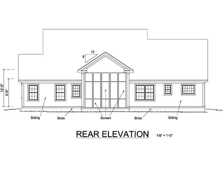 Country Farmhouse House Plan 66486 Rear Elevation
