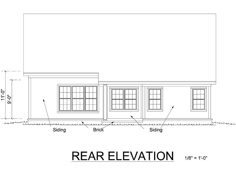 Traditional House Plan 66487 Rear Elevation