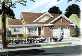Traditional House Plan 66488 with 2 Beds, 2 Baths, 2 Car Garage Elevation