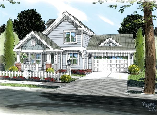 Craftsman , Traditional House Plan 66489 with 3 Beds, 3 Baths, 2 Car Garage Elevation
