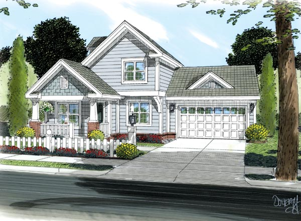 Craftsman, Traditional House Plan 66489 with 3 Beds, 3 Baths, 2 Car Garage Elevation