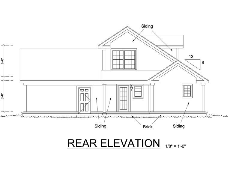Craftsman , Traditional House Plan 66489 with 3 Beds, 3 Baths, 2 Car Garage Rear Elevation