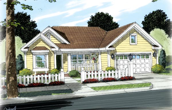 Traditional , Ranch , Elevation of Plan 66490