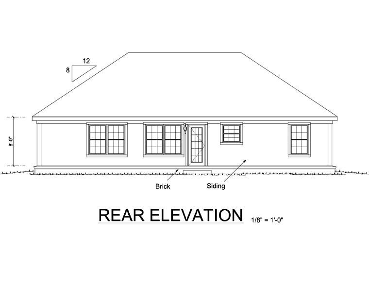 Traditional , Ranch , Rear Elevation of Plan 66490