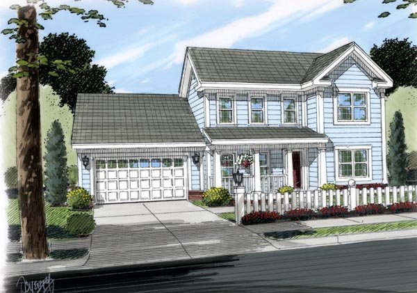 Traditional , Farmhouse House Plan 66491 with 3 Beds, 2 Baths, 2 Car Garage Elevation