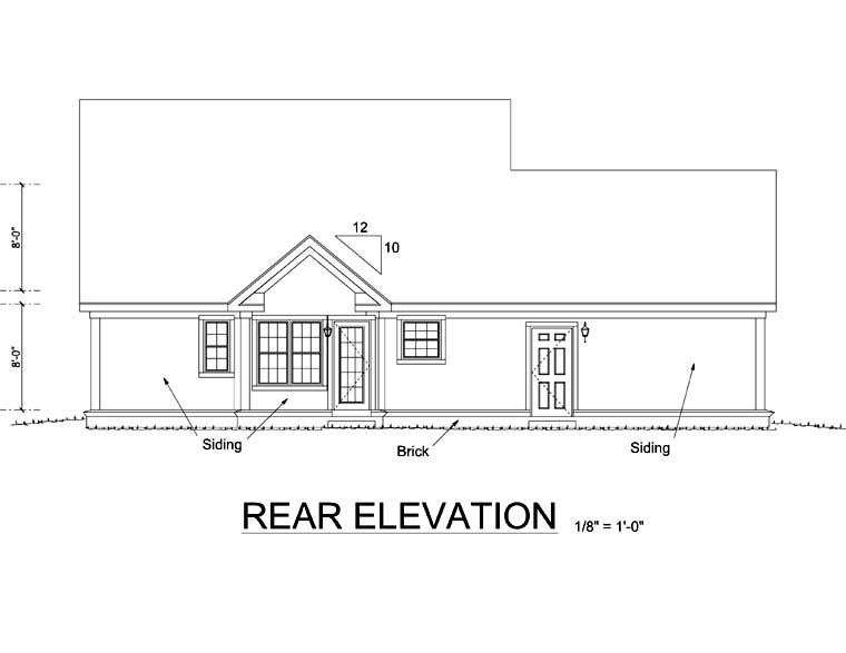Traditional , Farmhouse House Plan 66491 with 3 Beds, 2 Baths, 2 Car Garage Rear Elevation