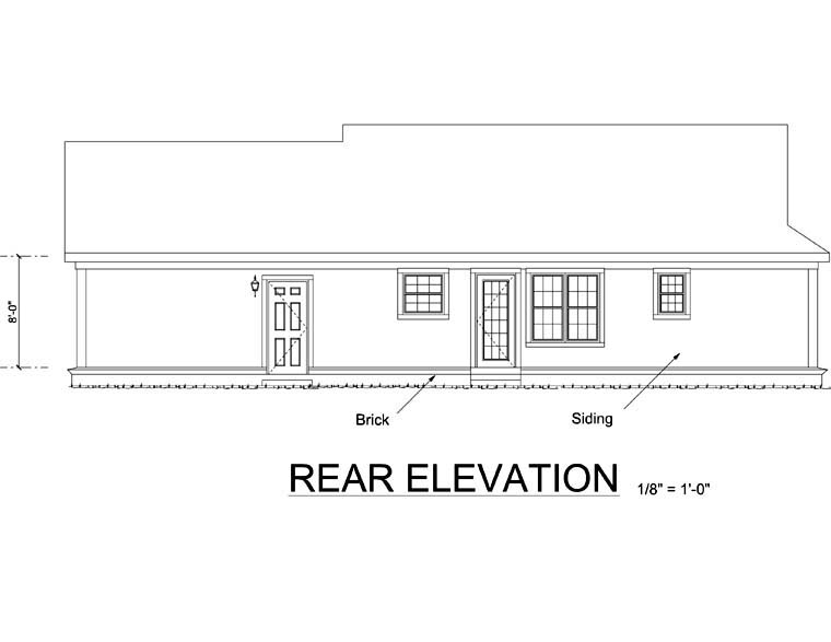 Ranch , Traditional , Rear Elevation of Plan 66492