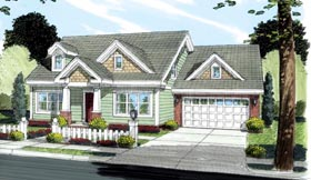 House Plan 66493 | Bungalow, Craftsman Style House Plan with 1188 Sq Ft, 3 Bed, 2 Bath, 2 Car Garage Elevation