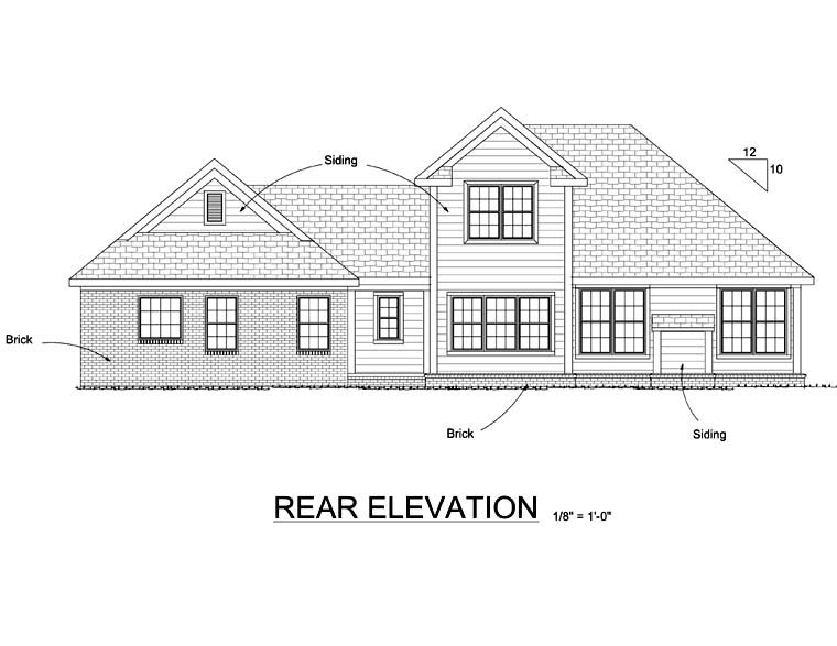 Traditional House Plan 66494 Rear Elevation