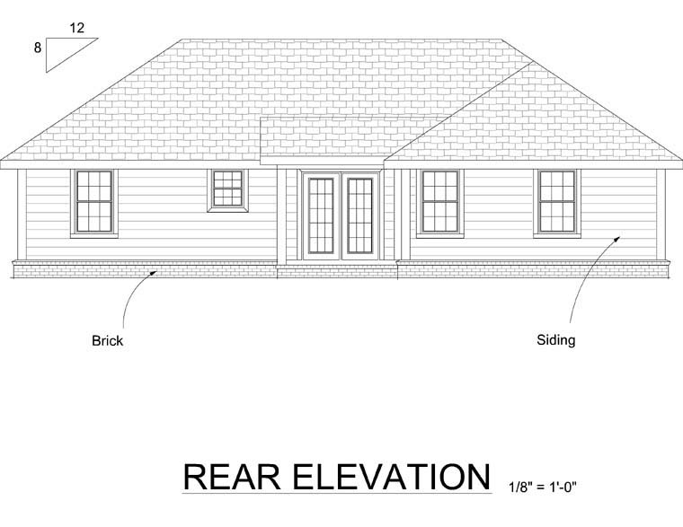 Traditional House Plan 66496 Rear Elevation