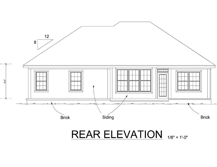 Traditional House Plan 66497 Rear Elevation