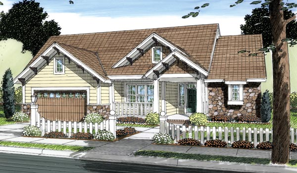 Bungalow, Craftsman House Plan 66498 with 3 Beds, 4 Baths, 2 Car Garage Elevation