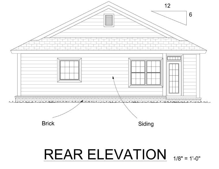 Bungalow Traditional House Plan 66499 Rear Elevation