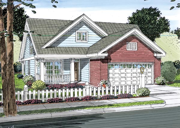 Cottage, Traditional House Plan 66501 with 3 Beds, 3 Baths, 2 Car Garage Elevation