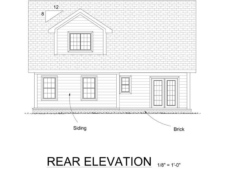 Cottage Traditional House Plan 66501 Rear Elevation