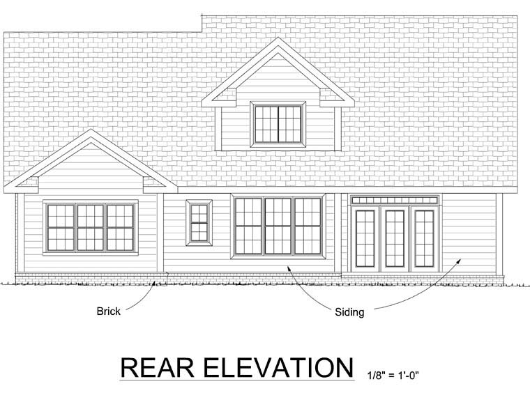 Traditional House Plan 66502 with 3 Beds, 3 Baths, 2 Car Garage Rear Elevation