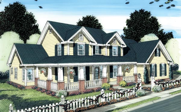 Country Farmhouse Traditional House Plan 66505 Elevation