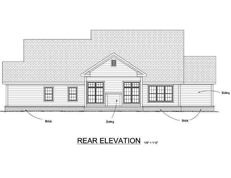 Country Farmhouse Traditional House Plan 66505 Rear Elevation