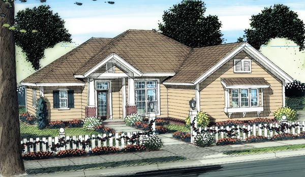 Cottage, Traditional House Plan 66506 with 3 Beds, 2 Baths, 2 Car Garage Elevation