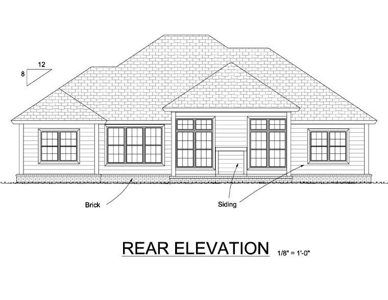 Cottage , Traditional House Plan 66506 with 3 Beds, 2 Baths, 2 Car Garage Rear Elevation