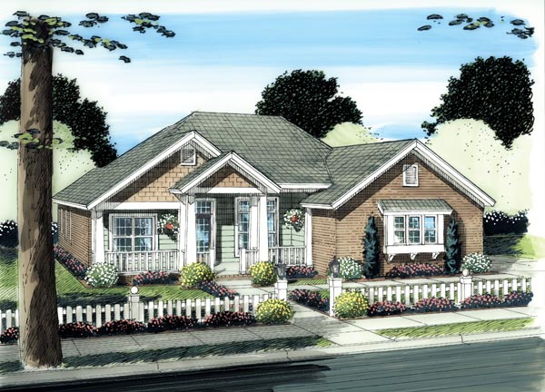Cottage, Traditional House Plan 66507 with 4 Beds, 3 Baths, 2 Car Garage Elevation