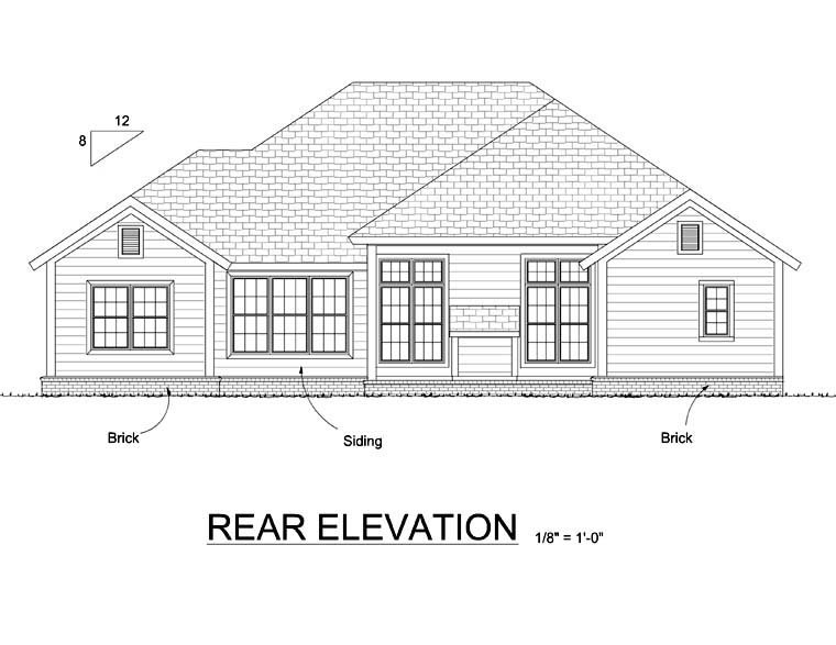 Cottage , Traditional , Rear Elevation of Plan 66507