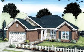 House Plan 66508 | Traditional Style Plan with 1485 Sq Ft, 3 Bedrooms, 2 Bathrooms, 2 Car Garage Elevation