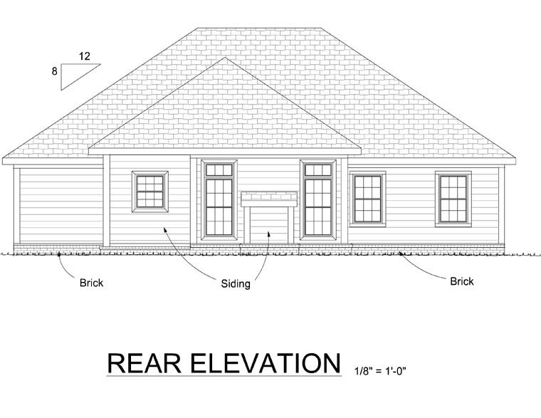 Traditional House Plan 66508 Rear Elevation