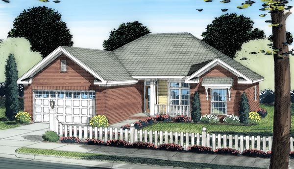Contemporary, Traditional House Plan 66509 with 3 Beds , 2 Baths , 2 Car Garage Elevation