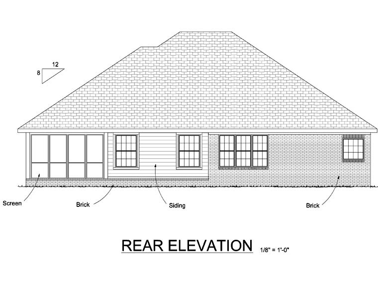 Traditional Rear Elevation of Plan 66511